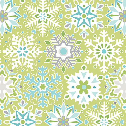 Nordic Holiday - Geo Snowflake Light Green
