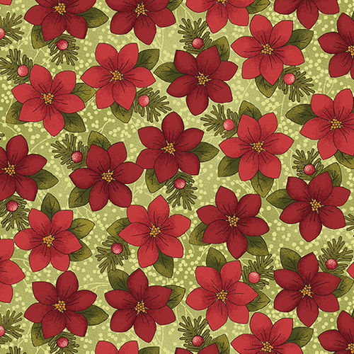 A Moose for Christmas - Poinsettia Tossed Light Green