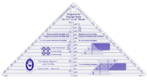 Small Diagonal Set Triangle Ruler - 2,5 inch bis 10 inch