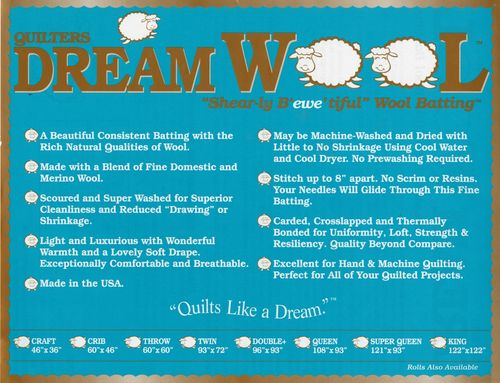 "Quilters Dream Wool Vlies  - Twin Size - 72"" x 93"" (1,82m x 2,36m)"