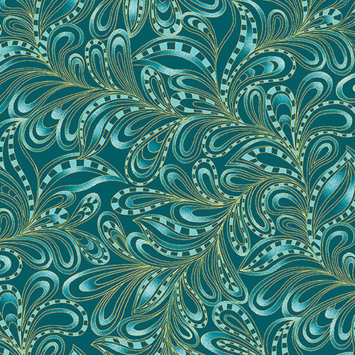 Cat-I-tude Christmas - Featherly Paisley - Teal
