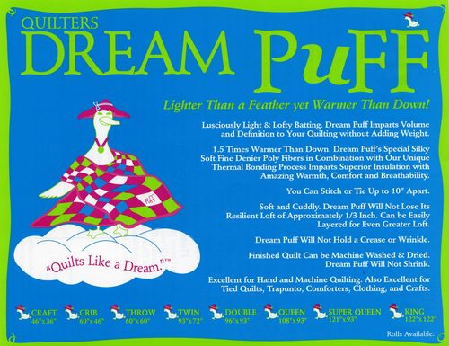 "Quilters Dream Puff Vlies  - Twin Size  - 72"" x 93"" (1,82m x 2,36m)"