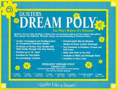 "Quilters Dream Poly Vlies - Twin Size  - 72"" x 93"" (1,82m x 2,36m)"