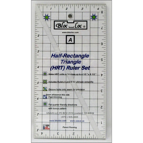 BlocLoc Lineal Half Rectangle Triangle Ruler Set 2:1 Large
