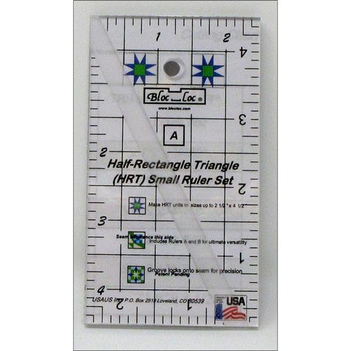 BlocLoc Lineal Half Rectangle Triangle Ruler Set 2:1 Mini