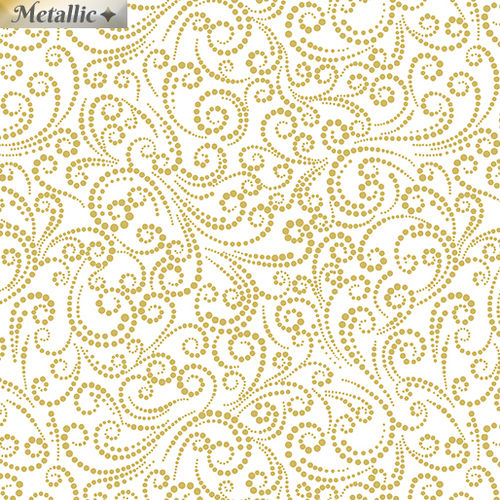 Deer Festival - Dotted Scroll White / Gold