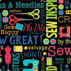 Sew Excited - Sew Wordy Black - 0,5m Stück - 7824-12