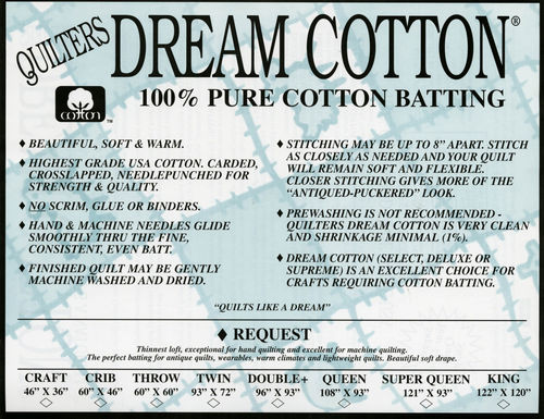 "Quilters Dream Cotton - Request -  King Size - 120"" x 122"" (3,05m x 3,10m)"