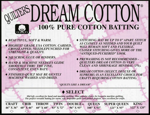 "Quilters Dream Cotton Select - King Size - 120"" x 122"" (3,05m x 3,1m)"