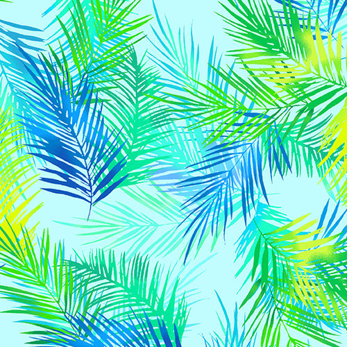 Tropical Breeze - Island Palm Leaves Turquoise