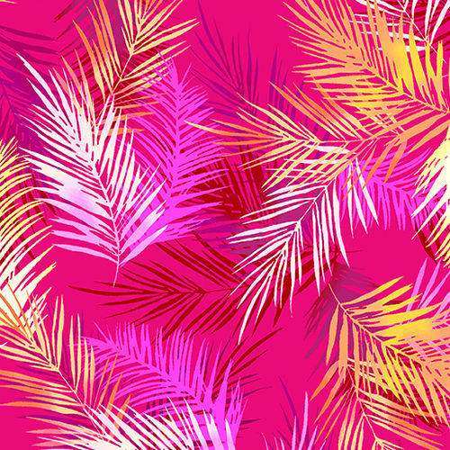 Tropical Breeze - Island Palm Leaves Pink