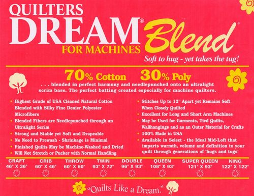 "Quilters Dream Blend 70/30 Natural - Twin Size - 72"" x 93"" (1,82m x 2,36m)"